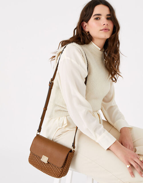 Leanne Weave Cross-Body Bag , Tan (TAN), large