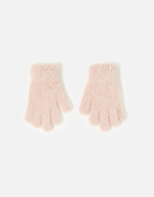 Girls Fluffy Gloves , Pink (PINK), large