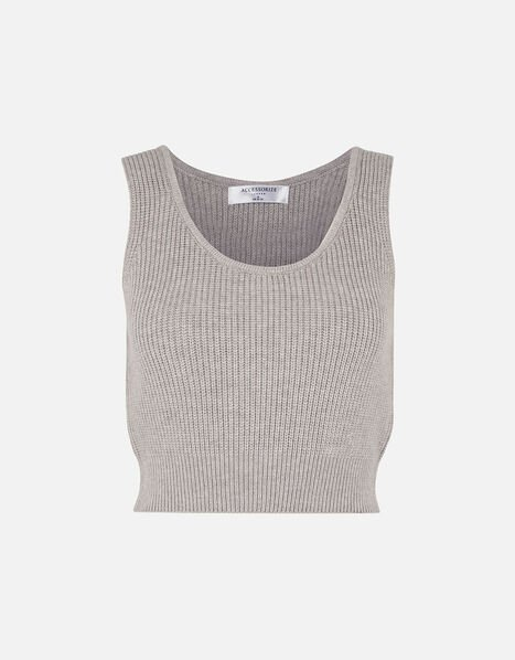 Rib Knit Lounge Crop Top Grey, Grey (LIGHT GREY), large