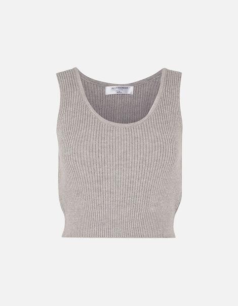 Rib Knit Lounge Crop Top Grey, Grey (LIGHT GREY), large