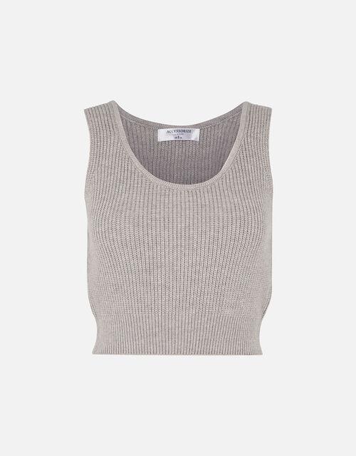 Rib Knit Lounge Crop Top, Grey (LIGHT GREY), large
