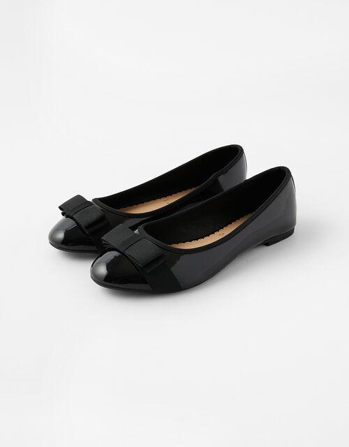 Womens ladies low medium wedge heel work smart ballerina bow dolly shoes size