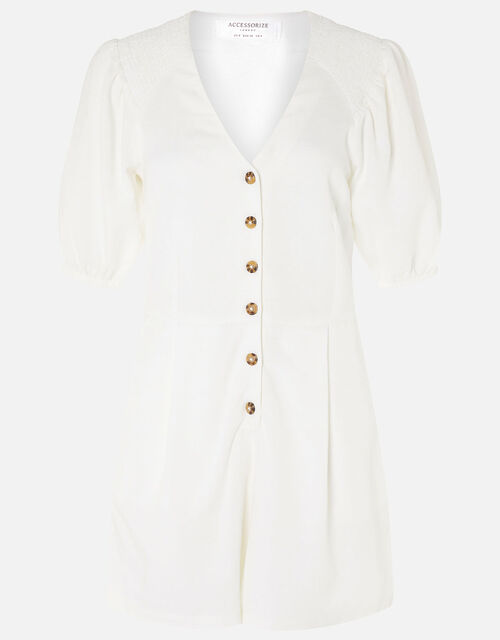 Puff Sleeve Playsuit in Pure Linen , Cream (CREAM), large