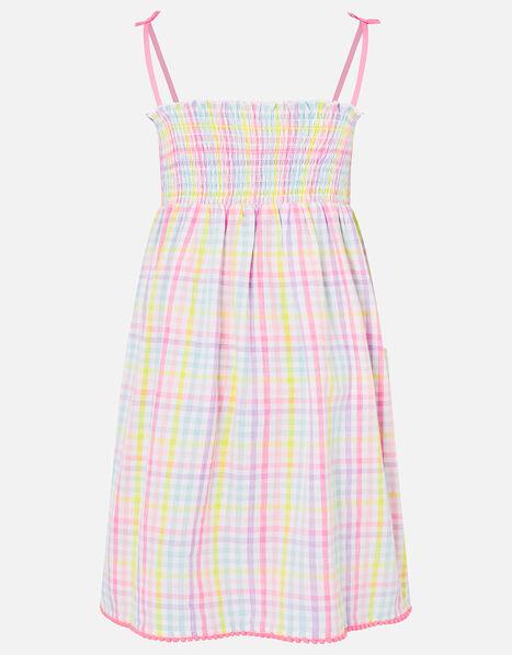 Rainbow Check Dress in Pure Cotton Multi, Multi (BRIGHTS-MULTI), large