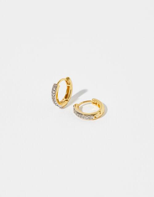 Gold Vermeil White Topaz Huggie Hoop Earrings, , large