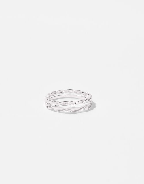 Sterling Silver Twist Ring Set, Silver (ST SILVER), large