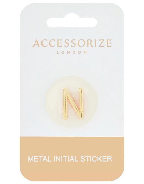 Metallic Initial Sticker - N, , large