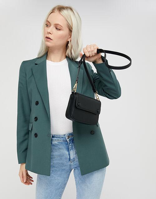 Faux Leather Belt Bag, Black (BLACK), large