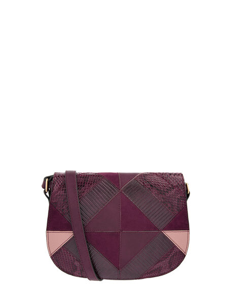 Polly Patchwork Cross-Body Bag Red, Red (BURGUNDY), large