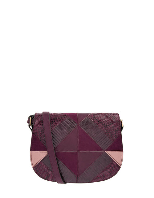 Polly Patchwork Cross-Body Bag, Red (BURGUNDY), large