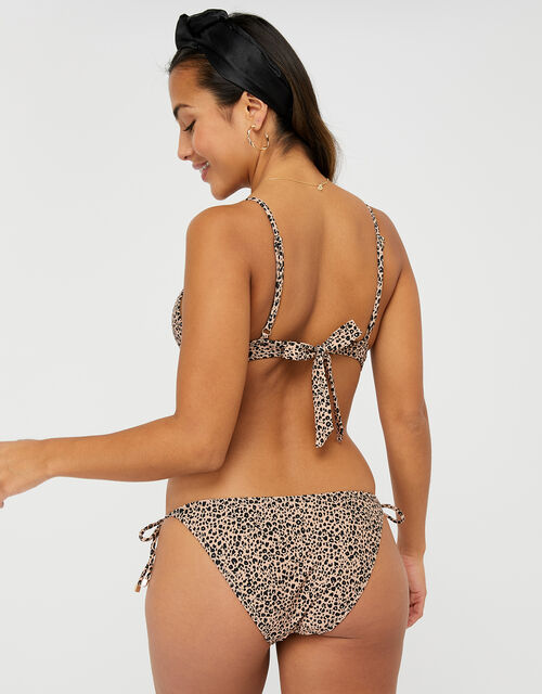 Leopard Tie-Front Triangle Bikini Top, Leopard (LEOPARD), large