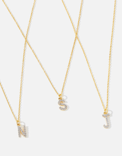 Gold Vermeil White Topaz Initial Necklace , Gold (GOLD), large