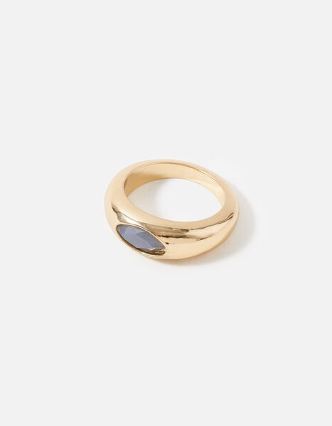 Berry Blush Signet Stone Ring Grey, Grey (GREY), large