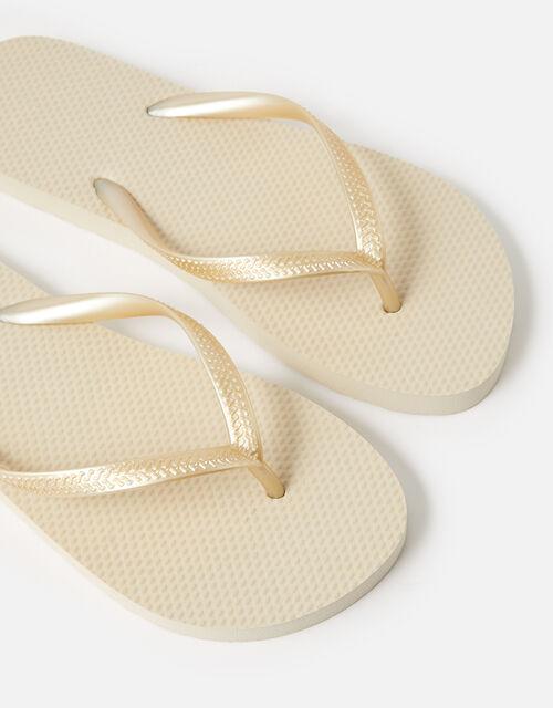 Embroidered Flip Flops, Gold (GOLD), large