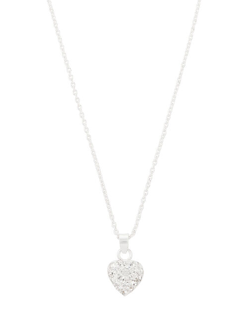 Sterling Silver Crystal Heart Pendant Necklace, , large