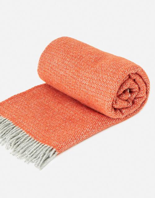 Tweedmill Tassel Throw in Pure Wool, Orange (ORANGE), large