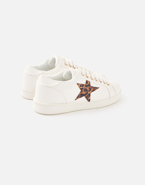 Leopard Star Trainers White, White (WHITE), large