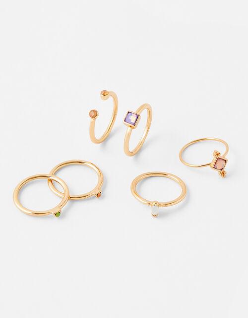 Coloured Gem Ring Multipack, Multi (PASTEL-MULTI), large