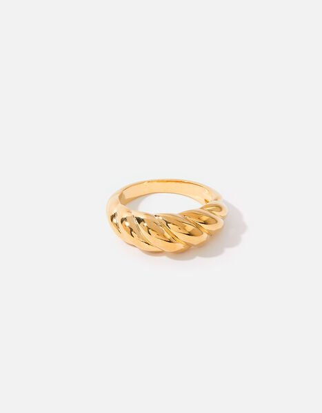 Gold-Plated Chunky Twisted Ring Gold, Gold (GOLD), large
