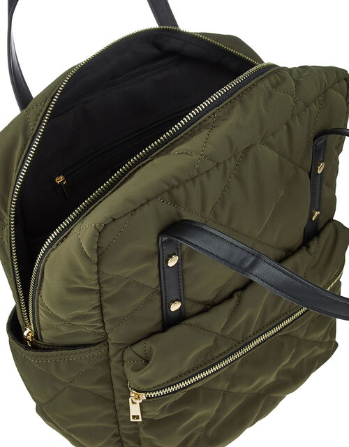 Emmy Vegan Quilted Backpack, Green (KHAKI), large
