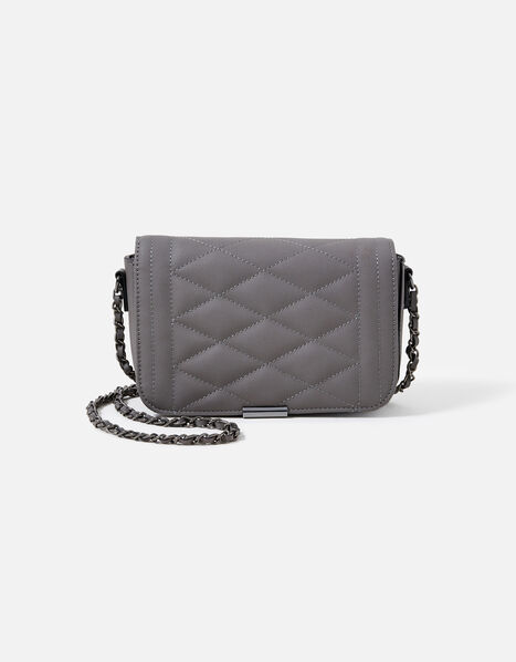 Chrissy Quilted Chain Cross-Body Bag Grey, Grey (GREY), large