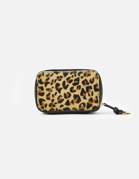 Small Leopard Print Leather Jewellery Box, , large
