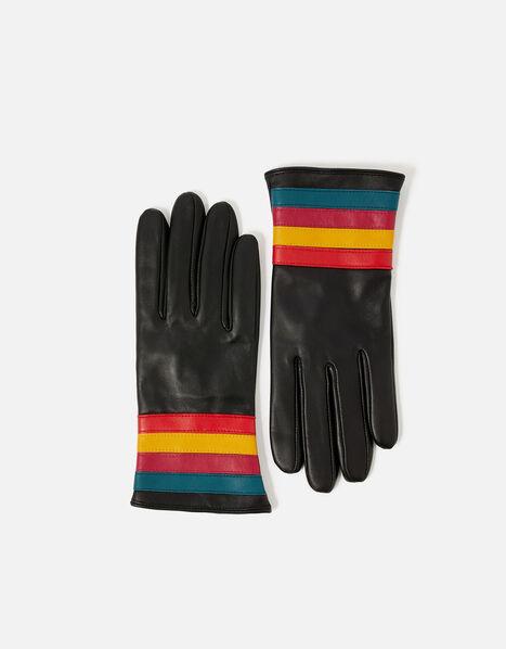 Rainbow Cuff Leather Gloves Black, Black (BLACK), large