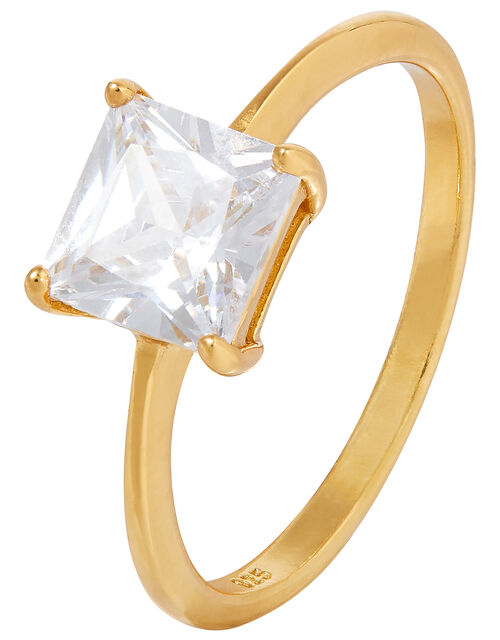 Sterling Silver Princess Cut Solitaire Ring, Gold (GOLD), large