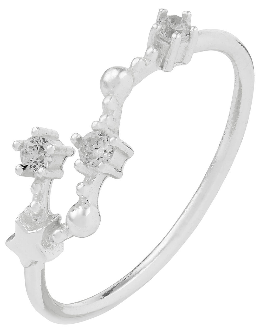 Sterling Silver Cancer Constellation Ring, White (ST CRYSTAL), large