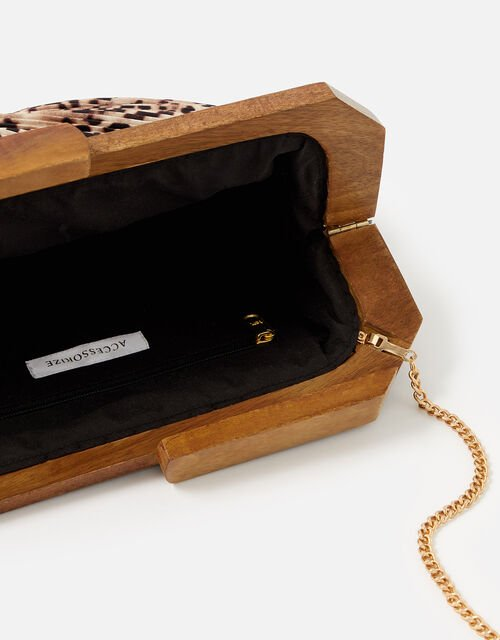 Leopard Pleated Clutch Bag , , large