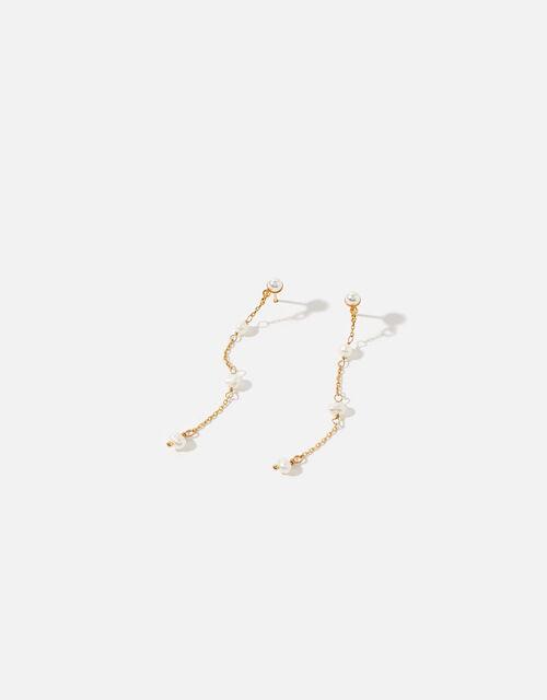 Pearl Long Drop Earrings, , large