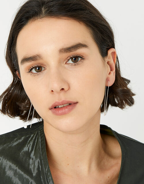 Sterling Silver Crystal Thread Earrings, , large