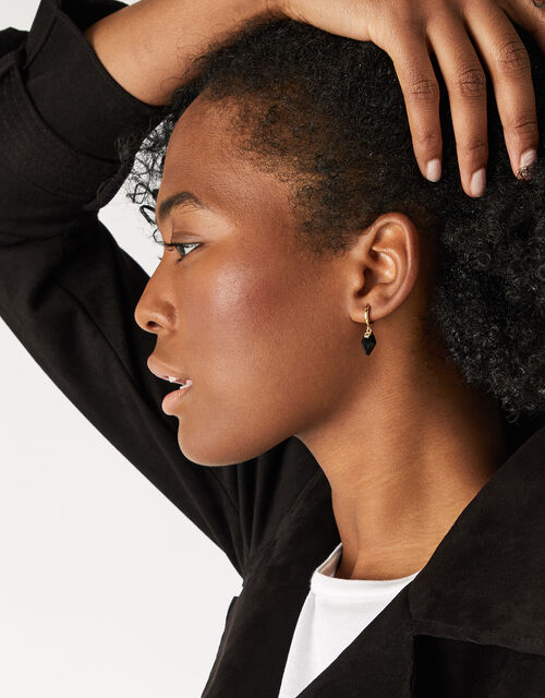 Healing Stones Huggie Hoops - Black Onyx, , large