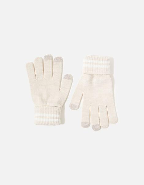 Varsity Stripe Touchscreen Gloves Natural, Natural (NATURAL), large