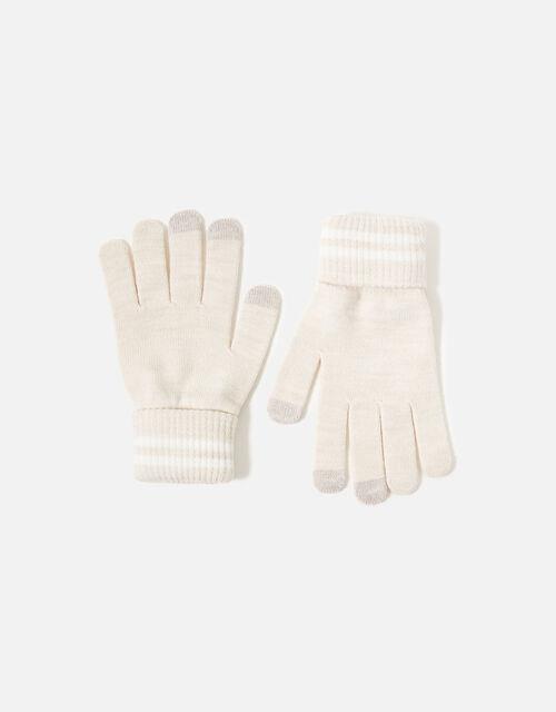 Varsity Stripe Touchscreen Gloves, Natural (NATURAL), large