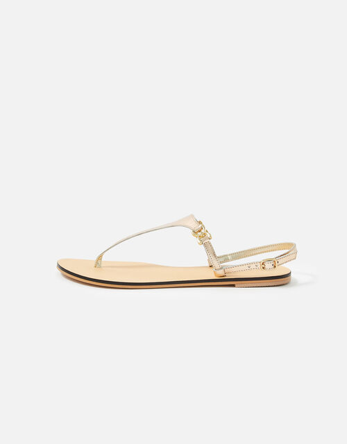 Luxe Leather Charm Sandals , Gold (GOLD), large