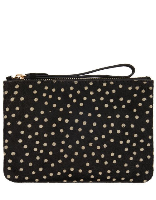 Leather Spot Pouch Bag, , large