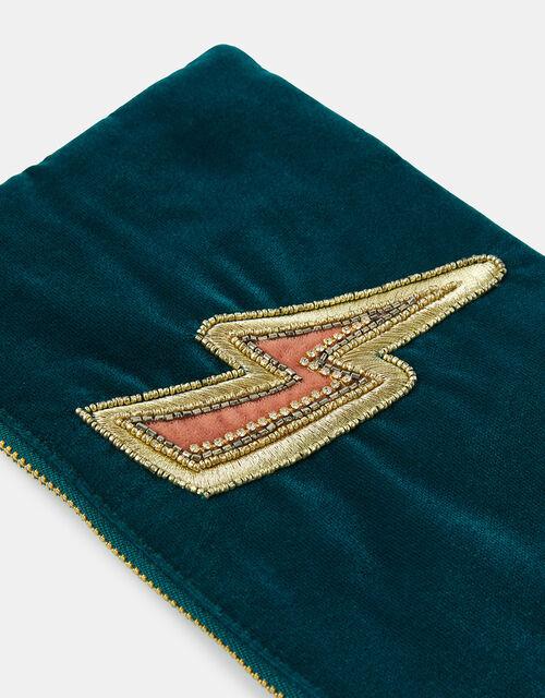 Embroidered Lightning Bolt Pouch Bag, , large