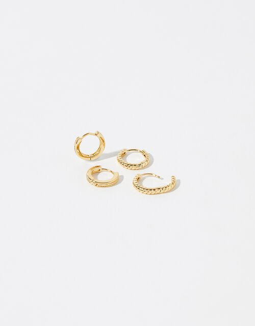 Gold-Plated Textured Mini Hoop Set, , large