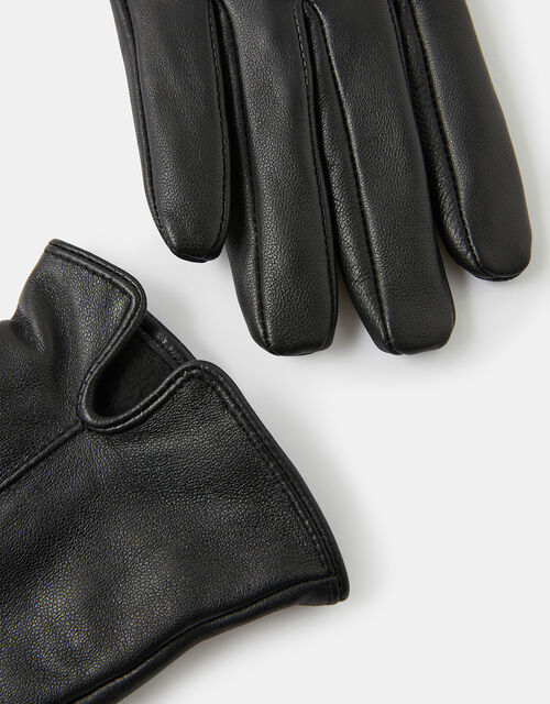 Luxe Leather Gloves, Black (BLACK), large