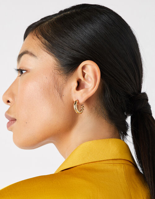 Half Twist Chunky Hoops with Recycled Metal, , large