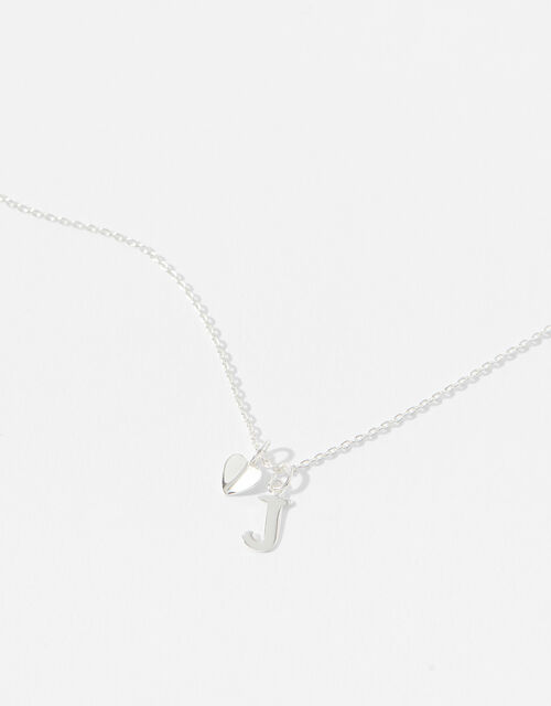 Sterling Silver Heart Initial Necklace - J, , large