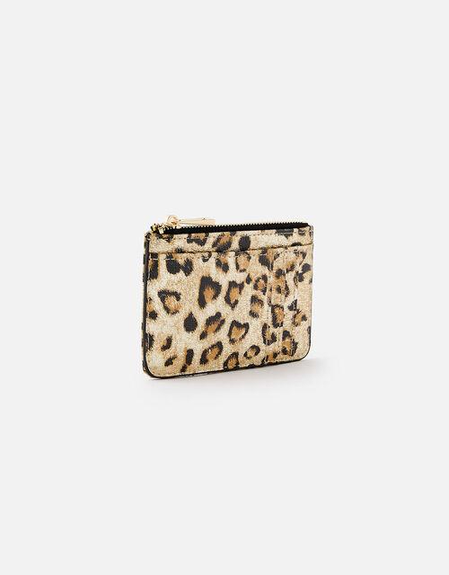 Leopard Metallic Card Holder, , large