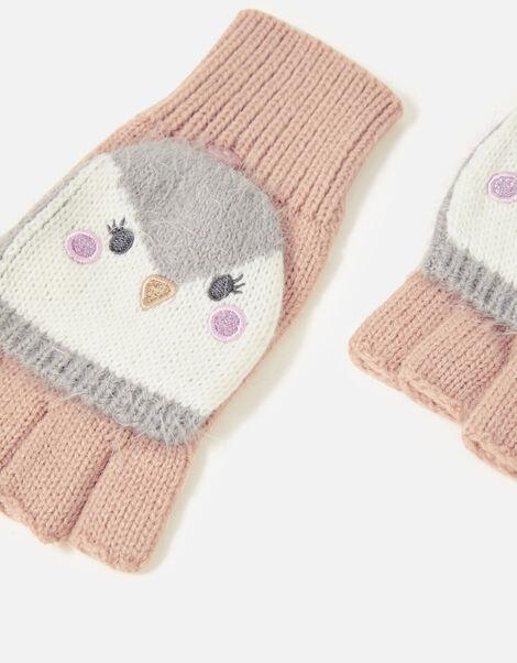 Girls Penguin Capped Gloves Multi, Multi (PASTEL-MULTI), large