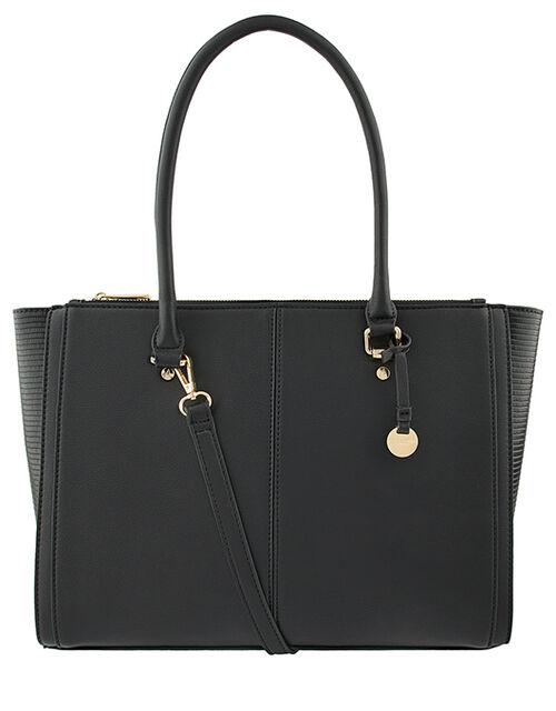 Lenny Vegan Tote Bag, Black (BLACK), large