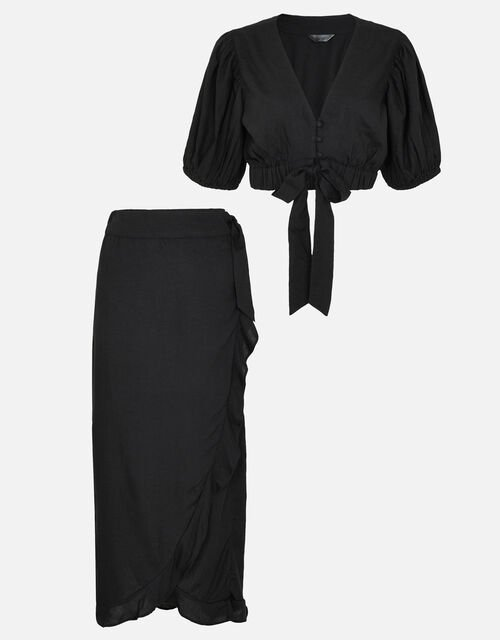 Tie Front Co-ord Top, Black (BLACK), large