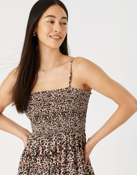 Leopard Bandeau Maxi Dress  Brown, Brown (BROWN), large