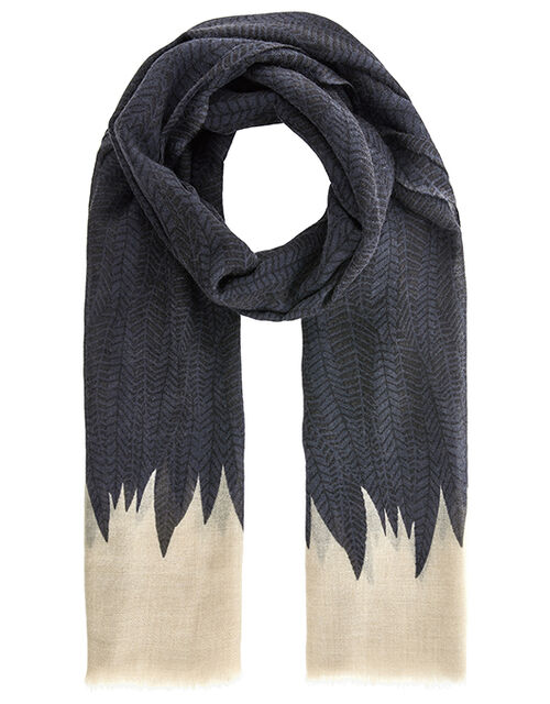 Feather Print Luxury Stole in Pure Wool, , large