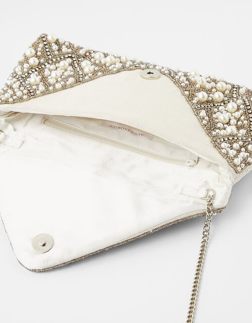 Pearl, Bead and Sequin Envelope Clutch Bag, , large