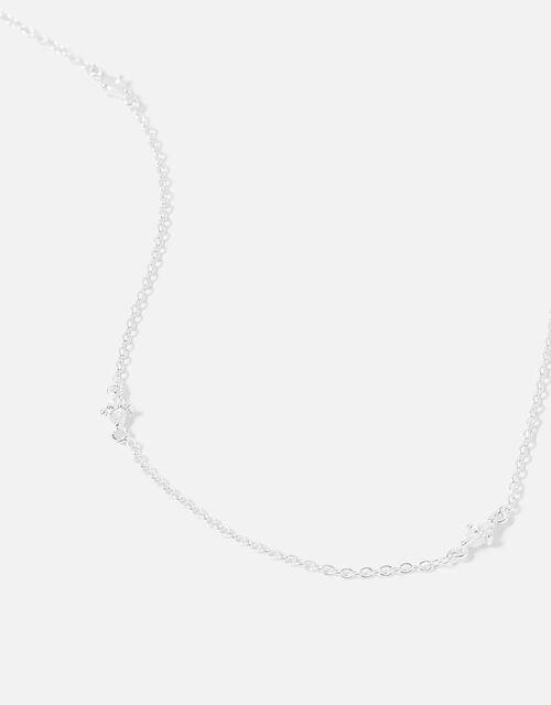 Sterling Silver Navette Station Necklace, , large